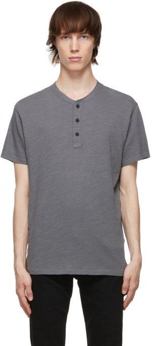rag & bone Grey Cotton Classic Short Sleeve Henley
