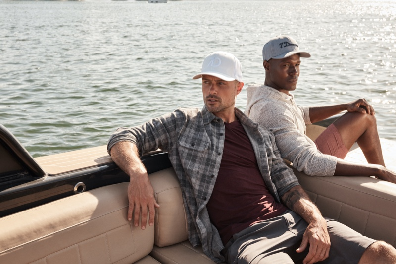 Spending a day on the water, Zac Taylor and Christopher Gary Lawson star in 7Diamonds' summer 2021 campaign.