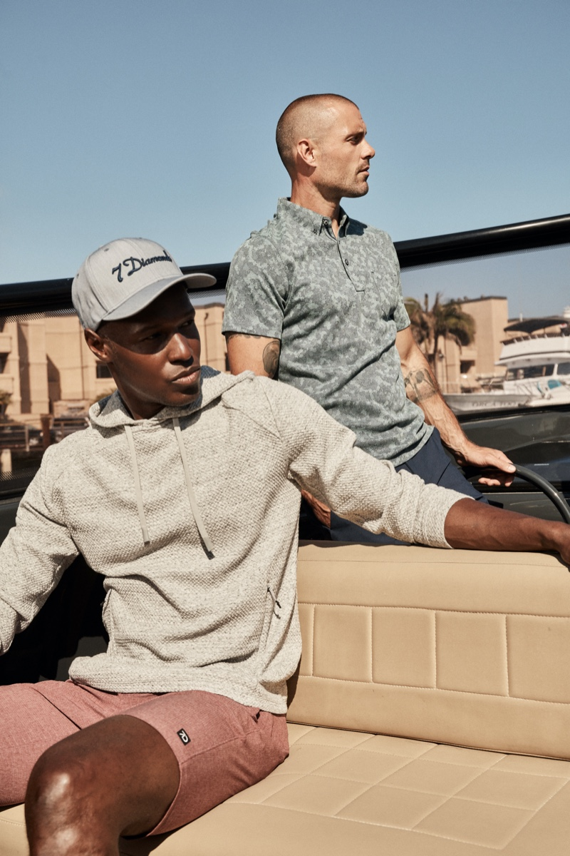 Christopher Gary and Zac Taylor model new casual looks for 7Diamonds' summer 2021 campaign.