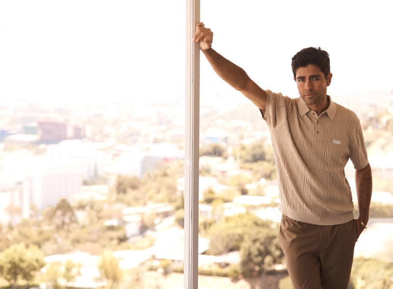 Starring in Kith's summer 2021 campaign, Adrian Grenier dons a neutral-colored look.