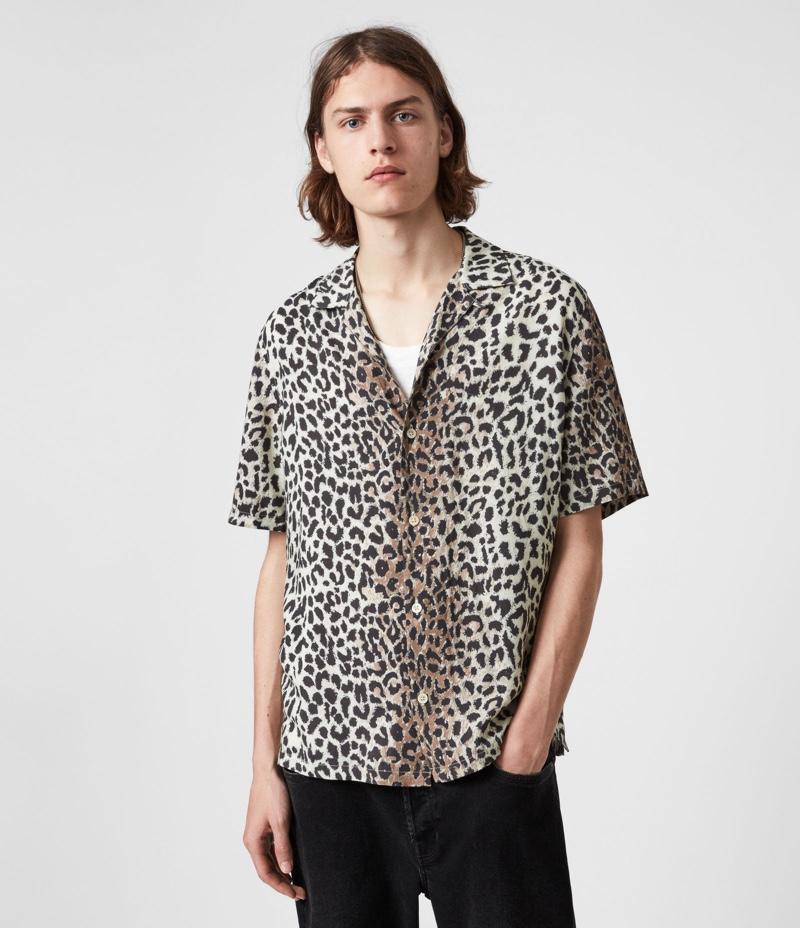 AllSaints Conscious Reserve Mens Animal Print Shirt