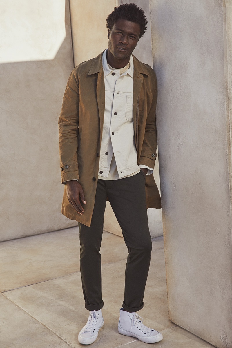 Transitional layers arrive in the form of Banana Republic's sleek essentials modeled by Remi Chester.