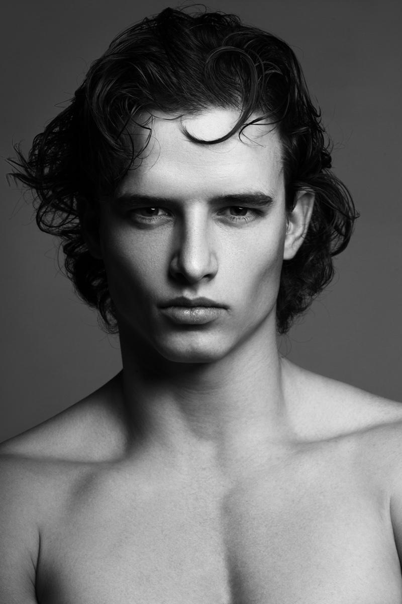 Black White Male Model Portrait Medium Length Hair Beauty