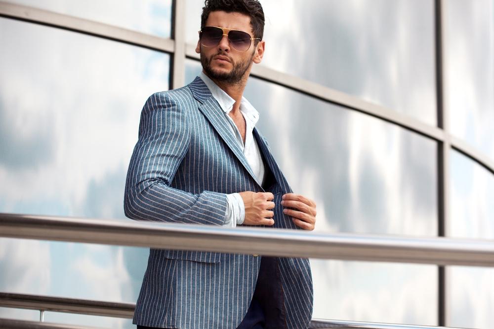 Blue Pinstriped Jacket Style Male Model Dapper