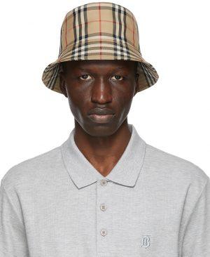 Burberry Beige Check Bucket Hat
