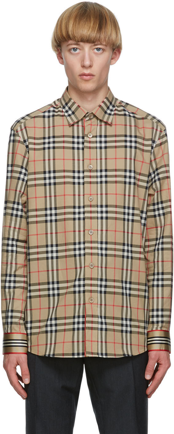 Burberry Beige Check Chartley Shirt