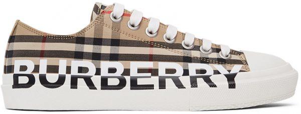 Burberry Beige Check Logo Larkhall Sneakers