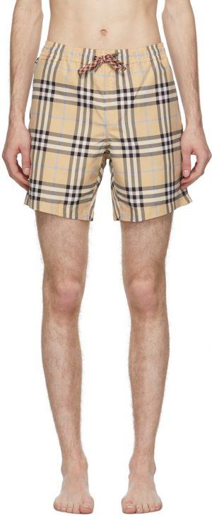 Burberry Beige Check Martin Swim Shorts
