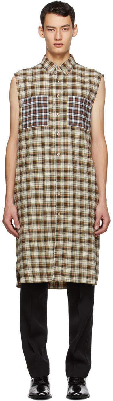 Burberry Beige Check Mix Flannel Shirt