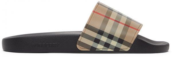 Burberry Beige Check Slides