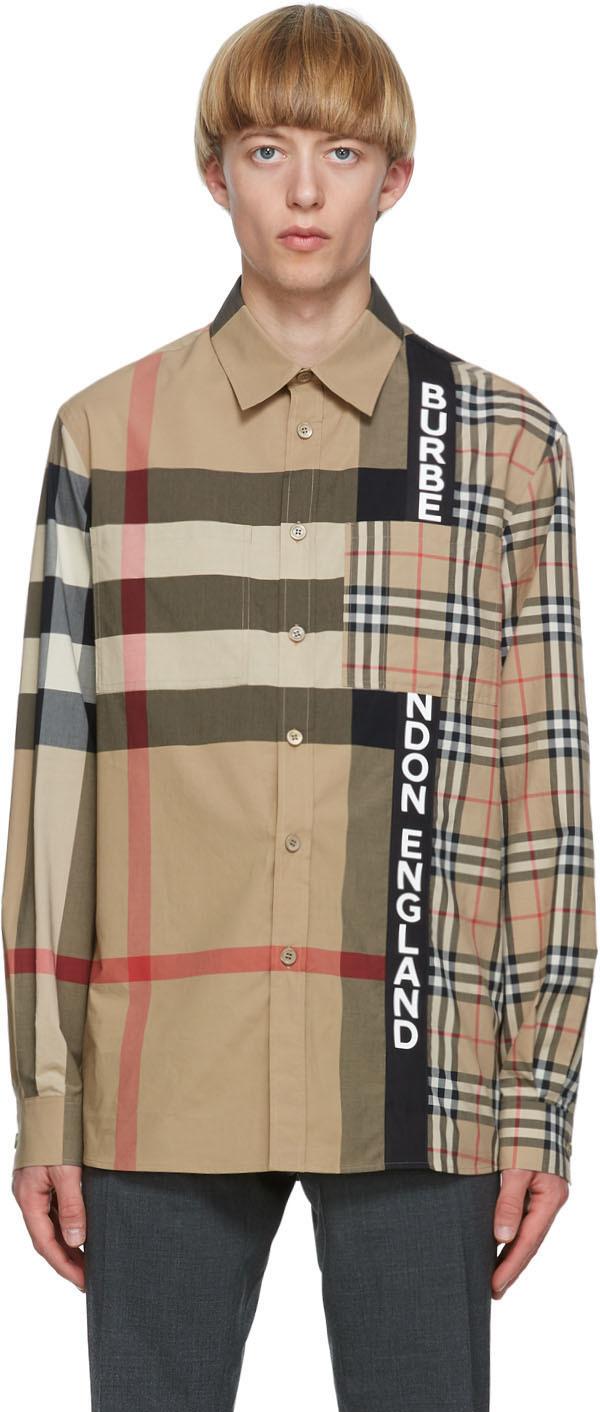 Burberry Beige Patchwork Talby Shirt