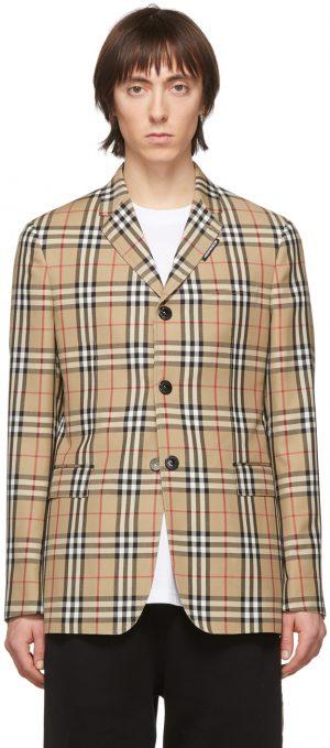 Burberry Beige Wool Tailored Blazer