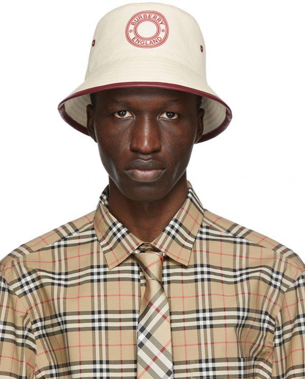 Burberry Beige & Red Canvas Logo Bucket Hat