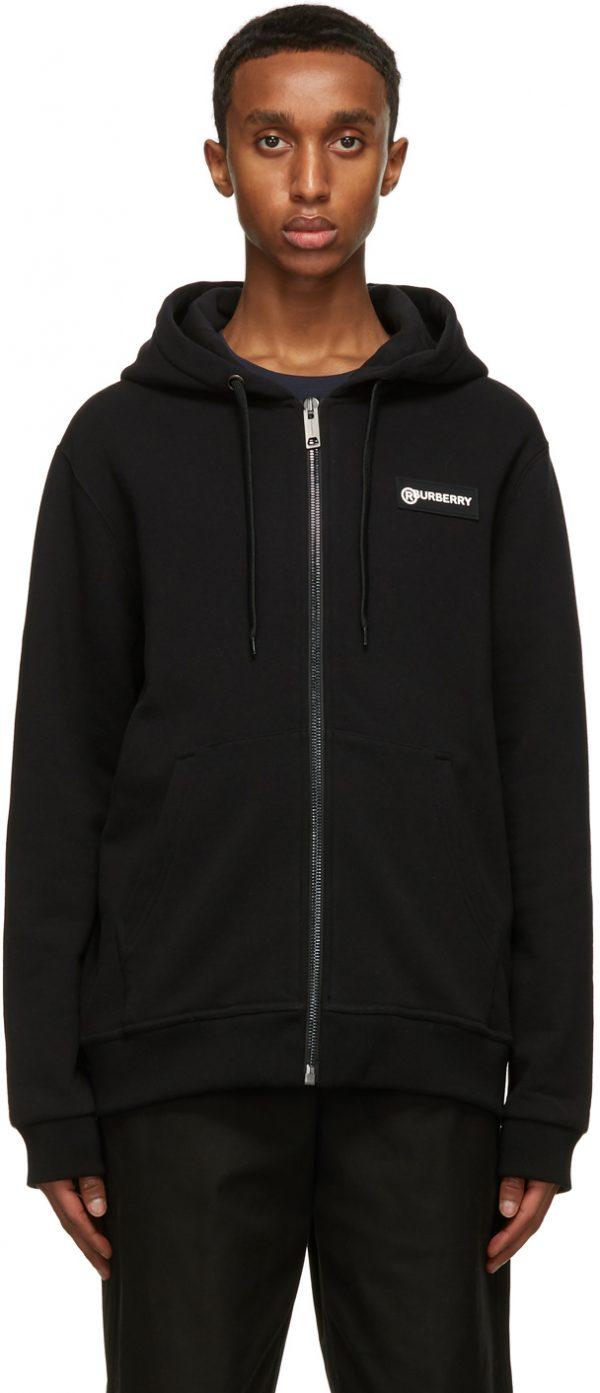 Burberry Black Asherby Zip-Up Hoodie