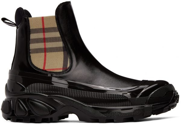 Burberry Black Coated Canvas Chelsea Boots