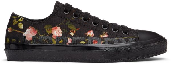 Burberry Black Floral Larkhall Sneakers