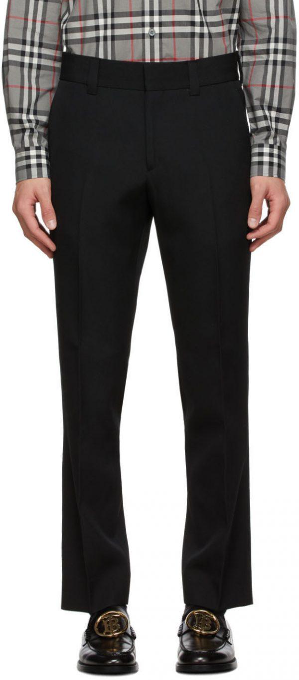 Burberry Black Grain De Poudre Trousers