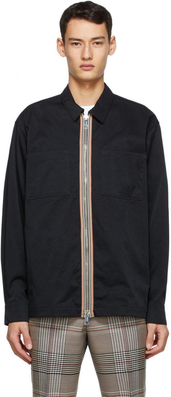 Burberry Black Icon Stripe Casual Shirt