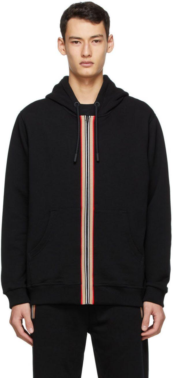 Burberry Black Icon Stripe Zip-Up Hoodie