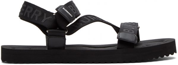 Burberry Black Jacquard Logo Sandals