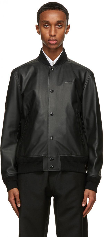 Burberry Black Lambskin Bomber Jacket