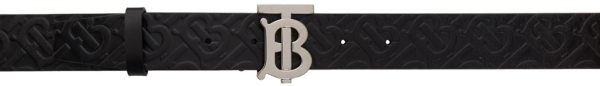Burberry Black Leather Monogram TB Belt