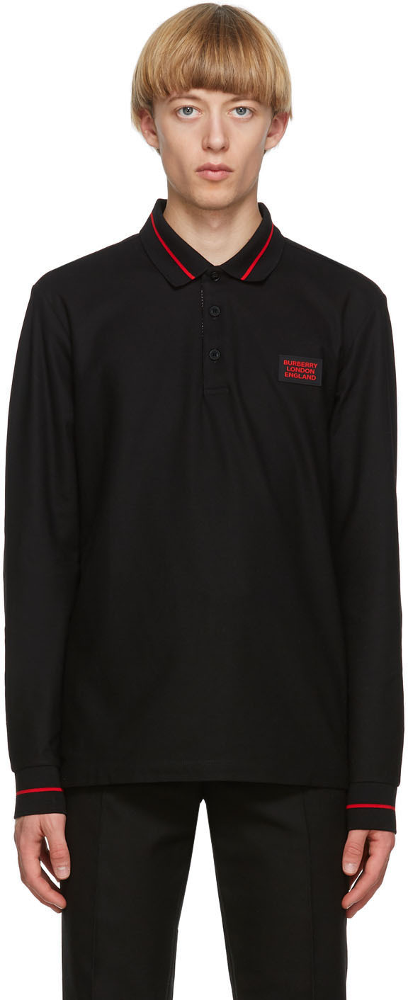 Burberry Black Logo Appliqué Genford Long Sleeve Polo