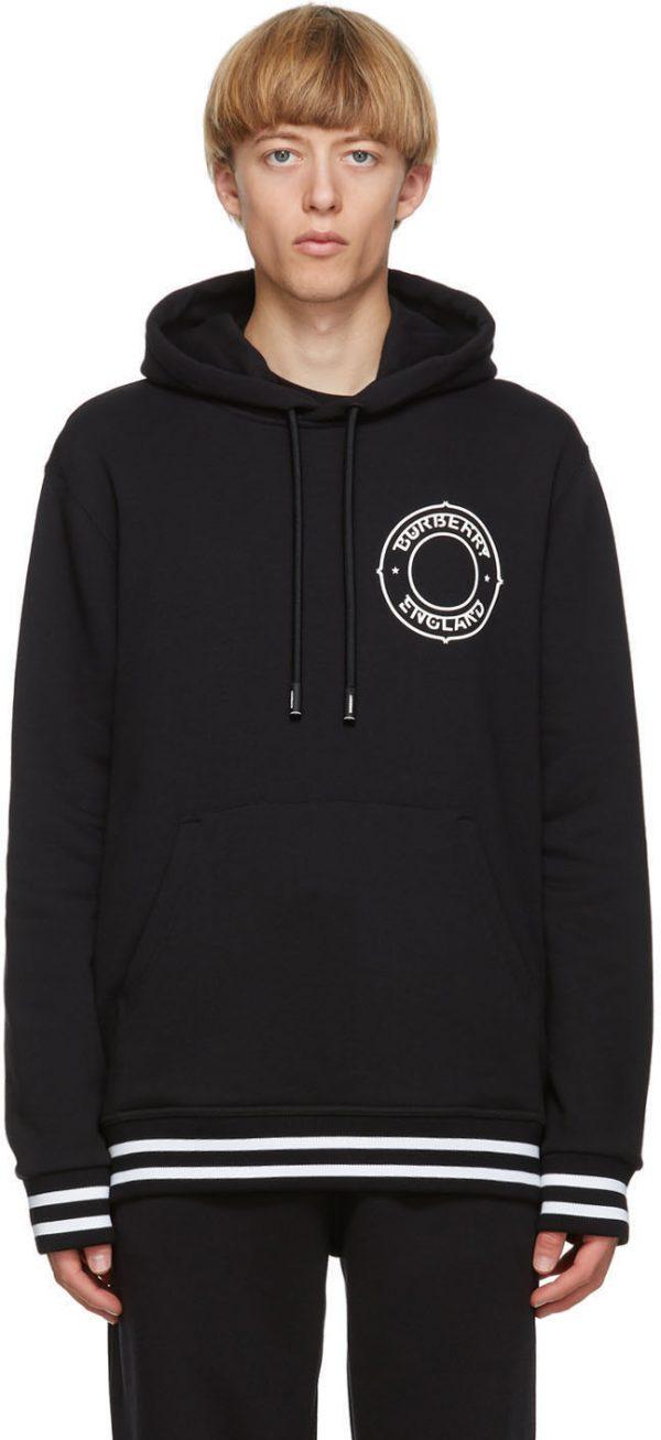 Burberry Black Logo Graphic Hoodie