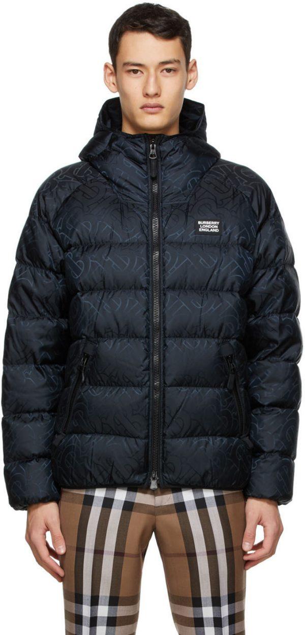 Burberry Black Monogram Hooded Puffer Jacket