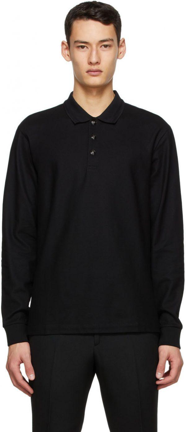 Burberry Black Piqué Long Sleeve Polo