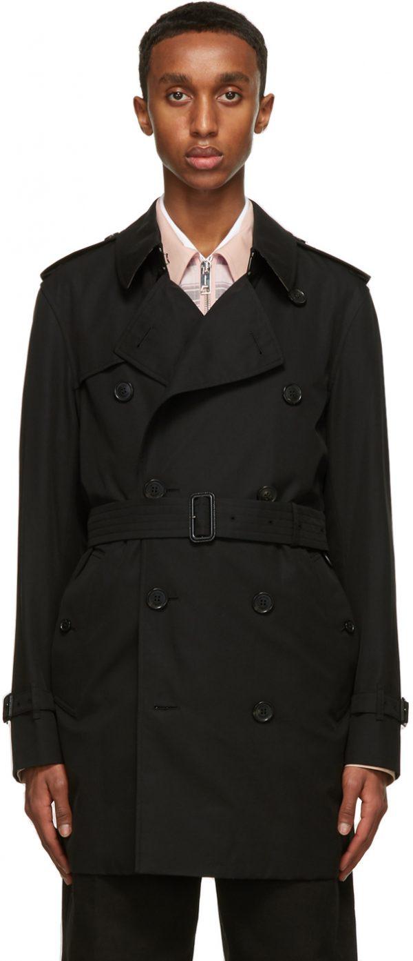 Burberry Black Short Wimbleton Trench Coat