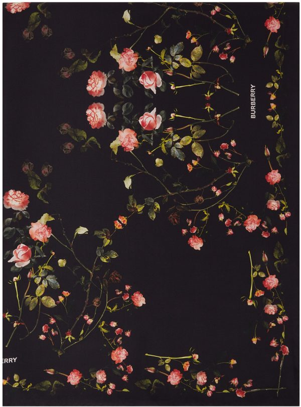 Burberry Black Silk Floral Scarf