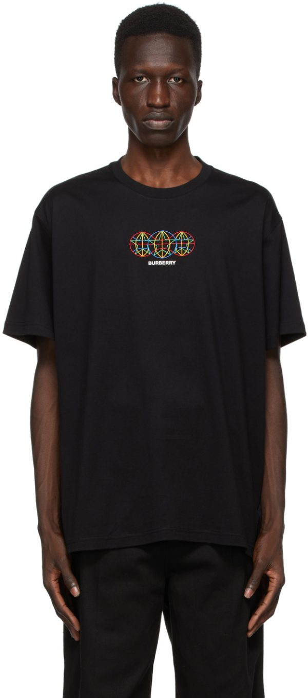 Burberry Black Triple Globestar Logo T-Shirt
