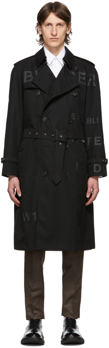 Burberry Black Westminster Horseferry Print Trench Coat