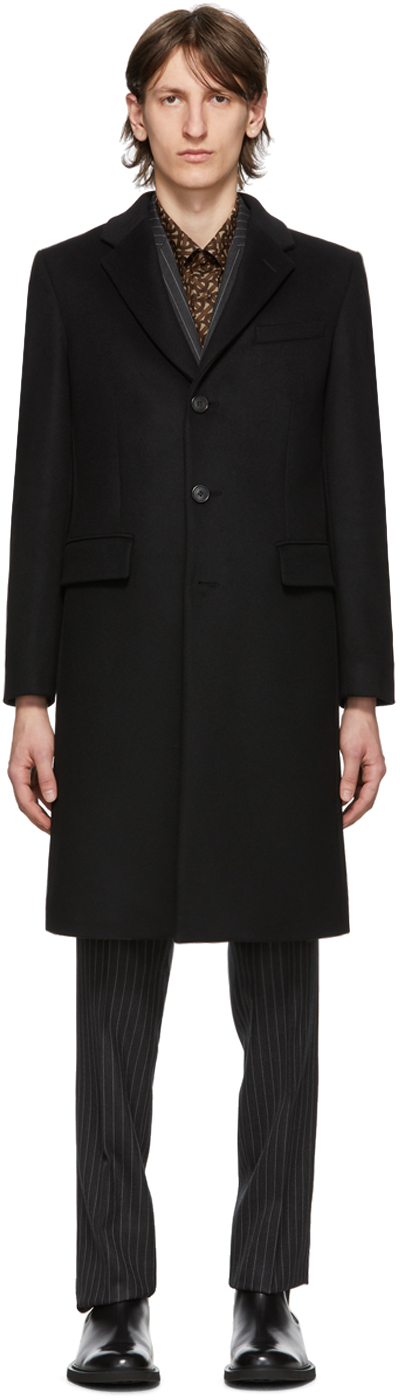 Burberry Black Wool Cashmere Hawkhurst Coat
