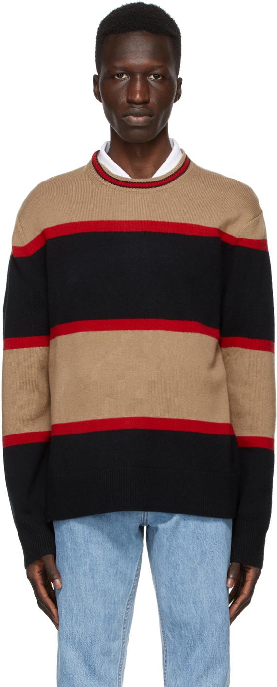 Burberry Black Wool Striped Sweater