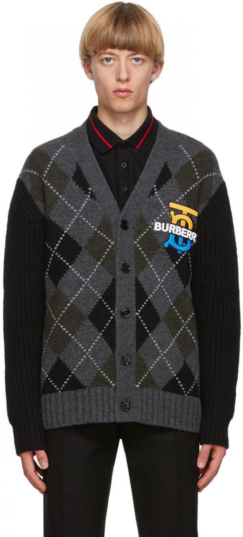 Burberry Black & Grey Check Sante Cardigan