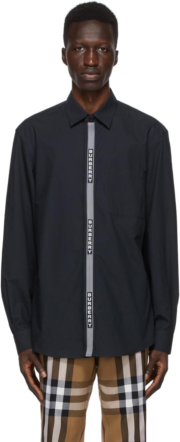 Burberry Black & White Logo Tape Shirt