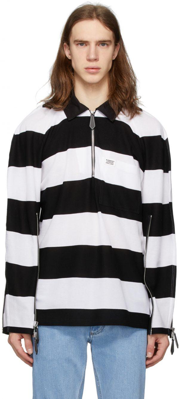 Burberry Black & White Striped Zip Detail Polo