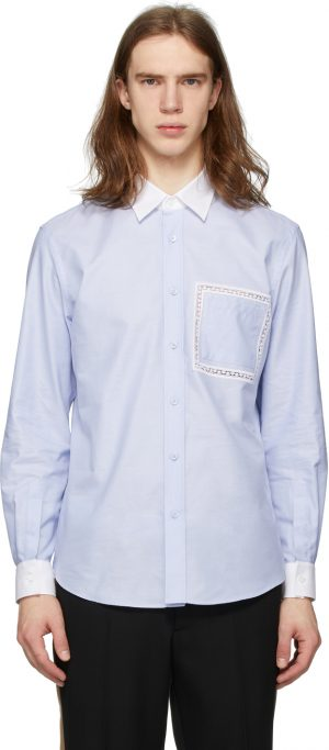 Burberry Blue Lace Detail Oxford Shirt