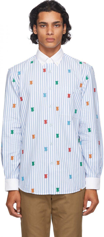Burberry Blue & White TB Monogram Stripe Crossingham Shirt