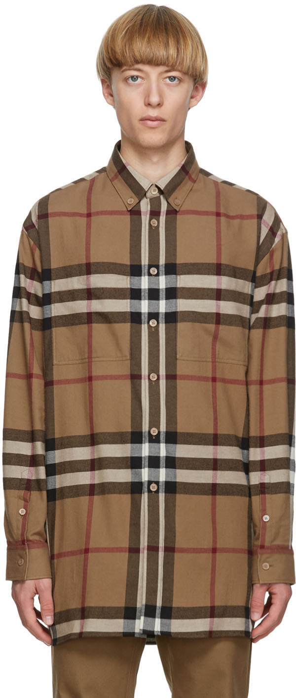 Burberry Brown Check Relaxed Fit Shirt