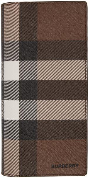 Burberry Brown E-Canvas Check Continental Wallet