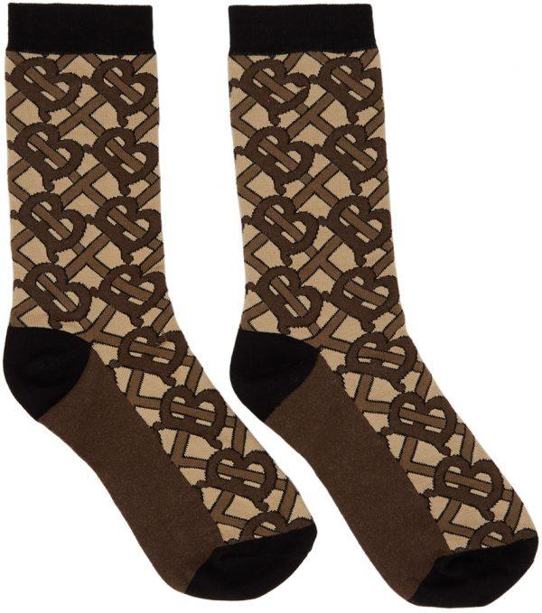 Burberry Brown TB Monogram Socks