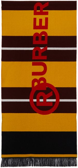 Burberry Burgundy & Yellow Striped Jacquard Scarf