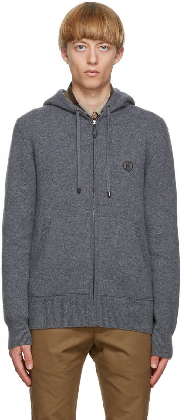 Burberry Grey Cashmere Lindley Hoodie