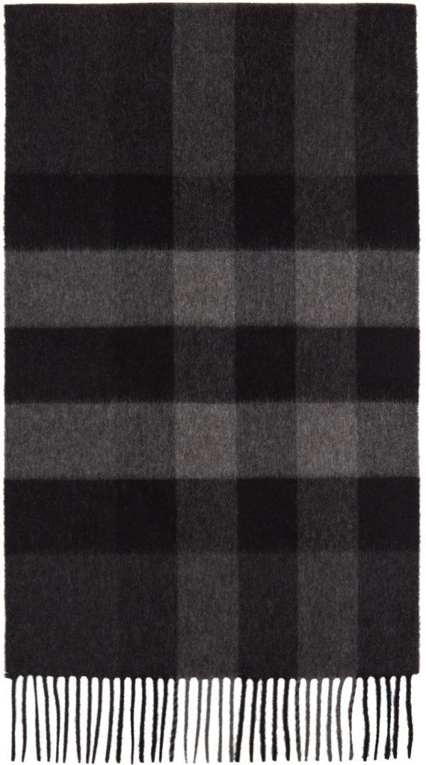 Burberry Grey Cashmere Mega Check Scarf