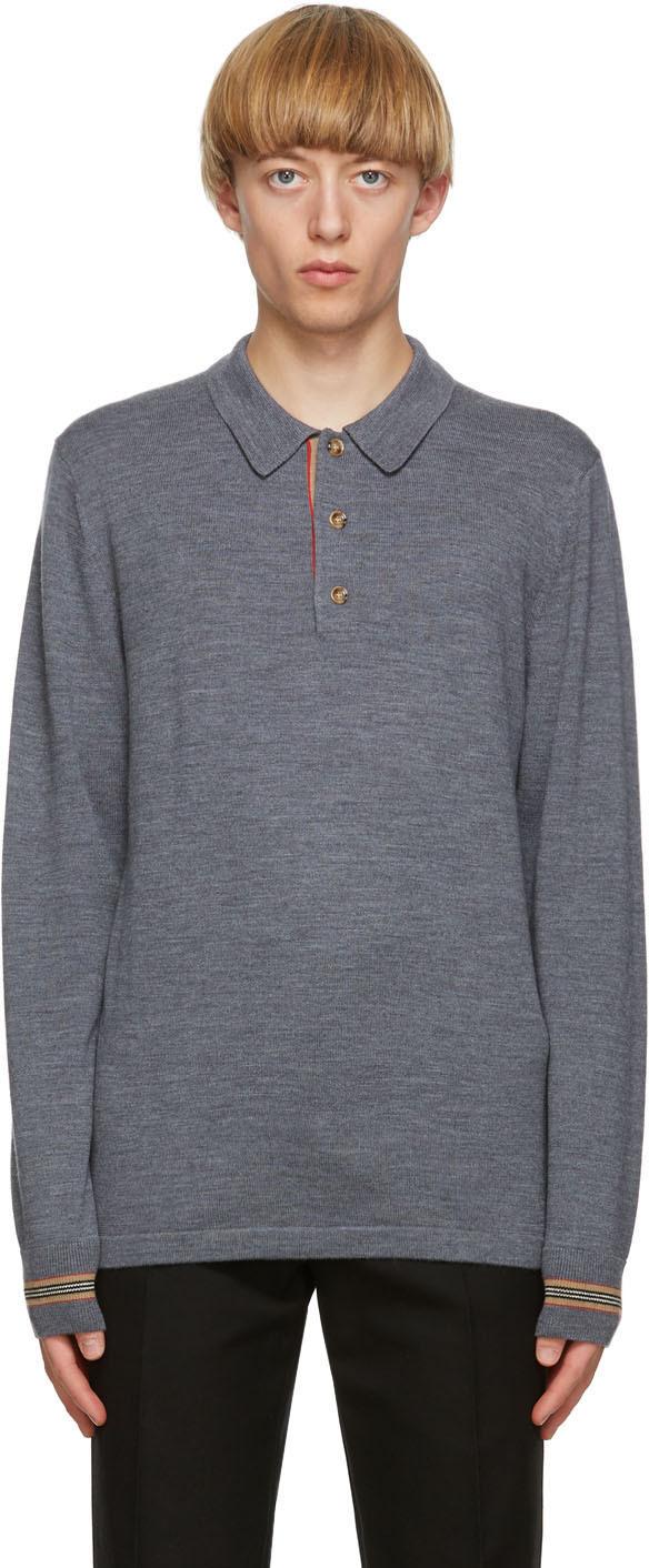 Burberry Grey Merino Icon Stripe Long Sleeve Polo