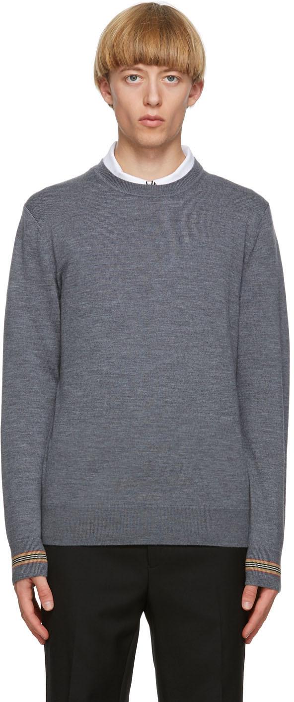 Burberry Grey Merino Icon Stripe Paradise Sweater