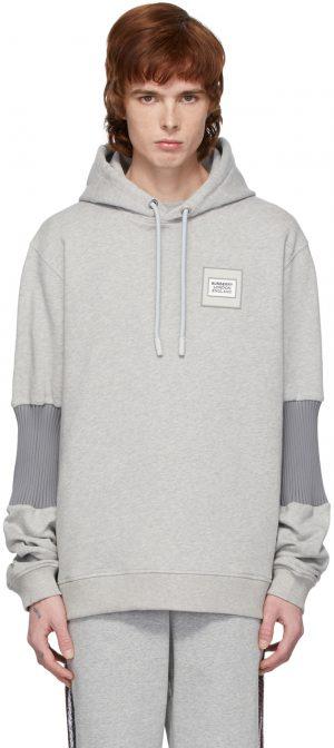 Burberry Grey Panelled-Sleeve Hoodie